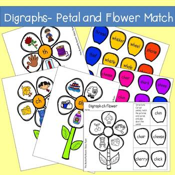 Beginning Digraphs- Petal and Flower Match (sh,ch,th,wh,wr and kn)
