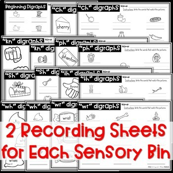 Beginning Digraphs Sensory Bins and Worksheets