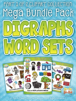 Beginning Digraphs Word Sets Clipart Mega Bundle {Zip-A-Dee-Doo-Dah Designs}