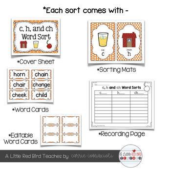 Beginning Digraphs Word Sorts {Editable}