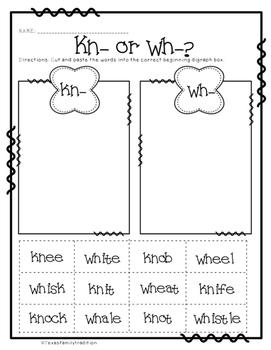 Beginning Digraphs Worksheet Sorts