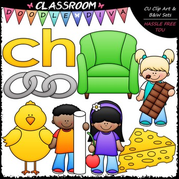 Beginning Digraphs (ch) Phonics Clip Art - Consonants