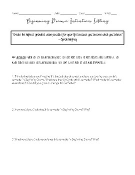 Beginning Drama Intention Setting Worksheet By The Grateful Classroom