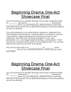 Beginning Drama One-Act Play Showcase Assignment