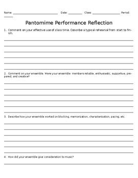 Beginning Drama Pantomime Performance Reflection