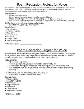 Beginning Drama Poetry Recitation Project