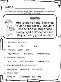 Beginning/Early Comprehension Stories and Questions
