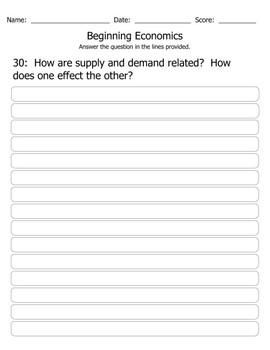 Beginning Economics Quiz/Test