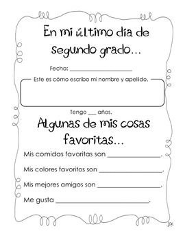 Beginning & End of Year: Second Grade in Spanish
