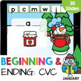 Beginning & Ending CVC Words Snowman Kindergarten Reading