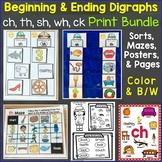 Beginning & Ending Digraphs sh, th, ch, wh Printables Bundle
