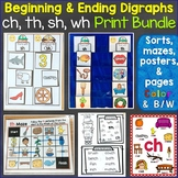 Beginning & Ending Digraphs sh, th, ch, wh Printables Bundle