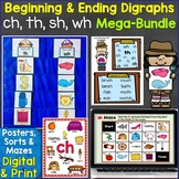 Beginning & Ending Digraphs sh, th, ch, wh Printables & Di