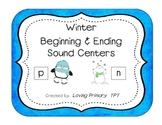Beginning & Ending Sounds Centers - Set of 3 Winter Themed