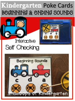 Beginning & Ending Sounds (train theme) poke cards