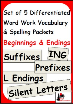 Beginning & Ending Spelling Patterns - Set of 5 Differentiated Word Work Packets