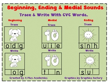 Trace and Write - A Different Approach for Beginning, Middle and Ending Sounds