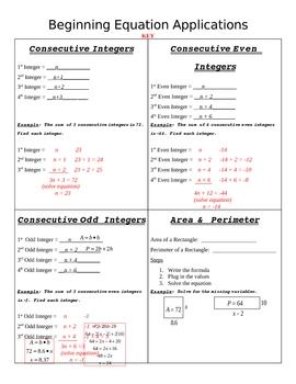 Beginning Equation Applications Graphic Organizer
