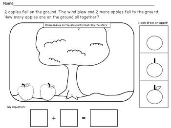 Beginning Fall Themed Addition Word Problem Worksheets