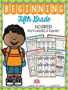 Beginning Fifth Grade (Back to School NO PREP Math and ELA Packet)