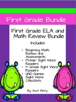 Beginning First Grade Bundle, Math Assessments, Dolch Sigh