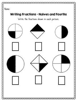 beginning fractions halves thirds and fourths 45 no prep worksheets