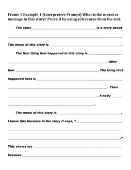 Beginning Frame Sets for Response to Literature