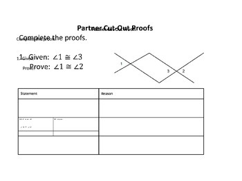 Beginning Geometric Two Column Cut-Out Proofs