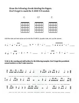 Beginning Guitar Unit Test #1