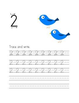 Beginning Handwriting: Numbers 1-10