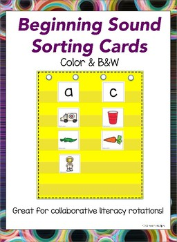 Beginning/Initial Sounds Sort (Color & BW)