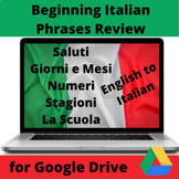 Beginning Italian Phrases Review Slide Game English to Italian for Google Drive