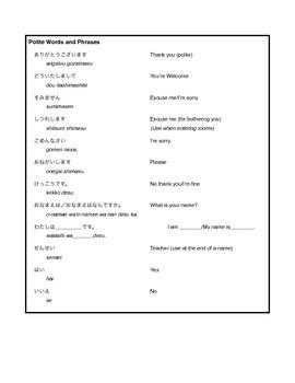 Beginning Japanese Lesson 1