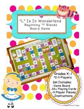 Consonant Blends - Beginning L Blends Board Game - L Is In Wonderland