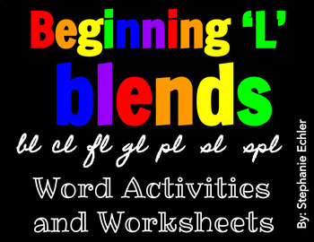 Beginning 'L' Blends Word Activities and Worksheets