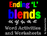 Ending 'L' Blends Word Activities and Worksheets