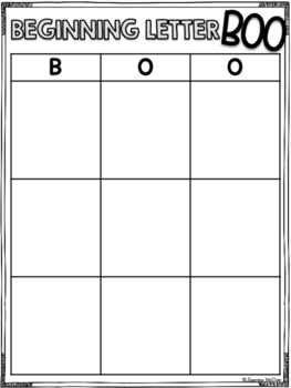 Beginning Letter BOO (Mini Bingo Game)