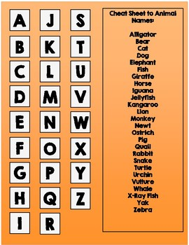 Beginning Letter-Match (Animal Version) File Folder Game