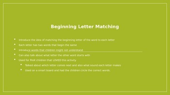Beginning Letter Matching