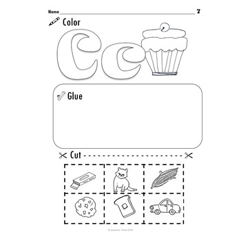 Beginning Letter Sound Identification, Cut, and Paste
