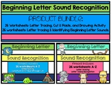 Beginning Letter Sound Recognition Bundle: Tracing Letters, Cut & Paste, Drawing