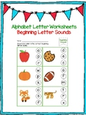 Beginning Letter Sound Worksheets! No PREP !