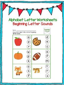 Beginning Letter Sound Worksheets! No PREP !