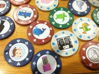 Beginning Letter Sound stickers for sound sort made with poker chips