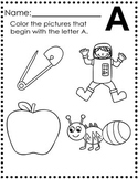 Beginning Letter Sounds A-Z Indentify : 26 Pages