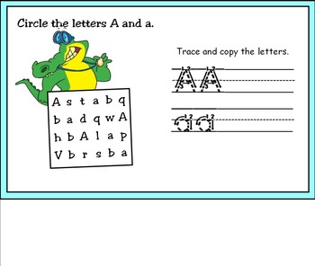 Beginning Letter Sounds Aa Activities for Smart Board