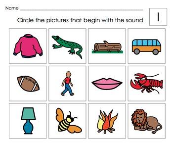 Beginning Letter Sounds Activities: Letters G,H,I (short),J,K,L  Set #2
