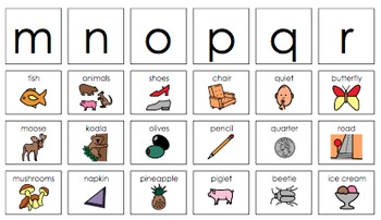 Beginning Letter Sounds Activities: Letters M,N,O (short),P,Q,R  Set #3