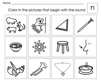 Beginning Letter Sounds Activities: Letters M,N,O (short),
