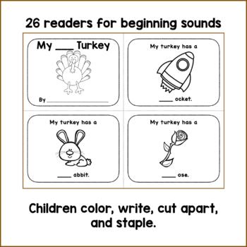 Beginning Letter Sounds Activities - turkey theme
